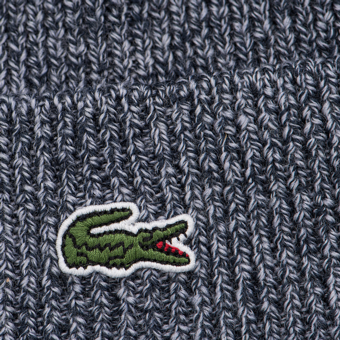 e822a83d683 Шапка Lacoste Ribbed Wool Beanie Mouline Navy Blue RB3502-JEW