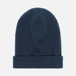 Мужская шапка Universal Works Beanie Rib Cotton Navy фото- 0