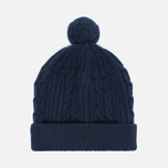 Мужская шапка Universal Works Bobble Soft Wool Cable Navy фото- 0