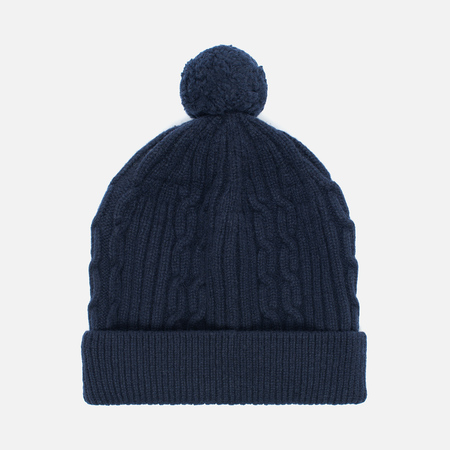Мужская шапка Universal Works Bobble Soft Wool Cable Navy