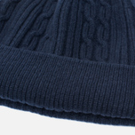 Мужская шапка Universal Works Bobble Soft Wool Cable Navy фото- 1