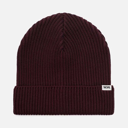 Мужская шапка Wood Wood Henry Ribbed Beanie Burgundy