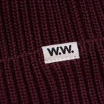 Мужская шапка Wood Wood Henry Ribbed Beanie Burgundy фото- 1