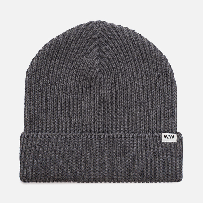 Мужская шапка Wood Wood Henry Ribbed Beanie Grey Melange