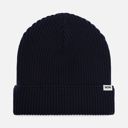 Мужская шапка Wood Wood Henry Ribbed Beanie Navy