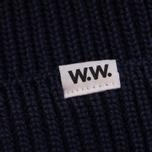 Мужская шапка Wood Wood Henry Ribbed Beanie Navy фото- 1
