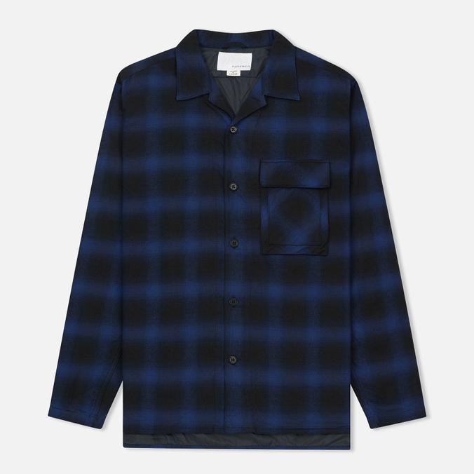 Мужская теплая рубашка Nanamica Buffalo Check Blue/Black
