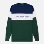 Мужская толстовка Aime Leon Dore Color Blocked Logo Crew Green/White/Navy/Burgundy фото- 0