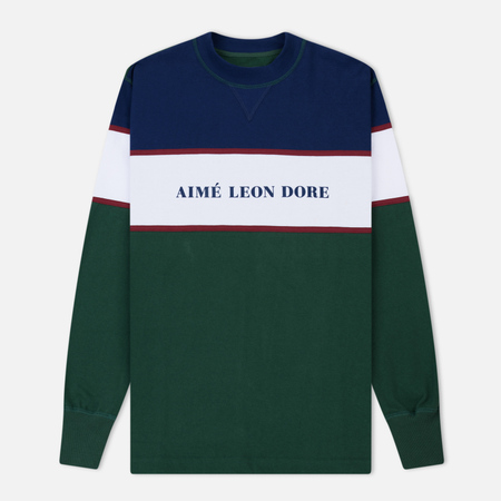 Мужская толстовка Aime Leon Dore Color Blocked Logo Crew Green/White/Navy/Burgundy