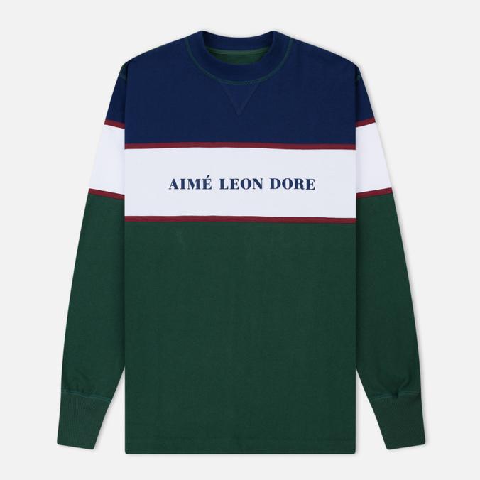 Мужская толстовка Aime Leon Dore Color Blocked Logo Crew Green/White/Navy/Burgundy
