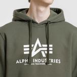Мужская толстовка Alpha Industries Basic Hoody Dark Olive фото- 2