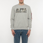 Мужская толстовка Alpha Industries Camo Print Grey Heather/Woodland фото- 5