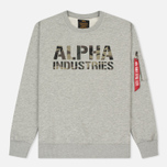 Мужская толстовка Alpha Industries Camo Print Grey Heather/Woodland фото- 0