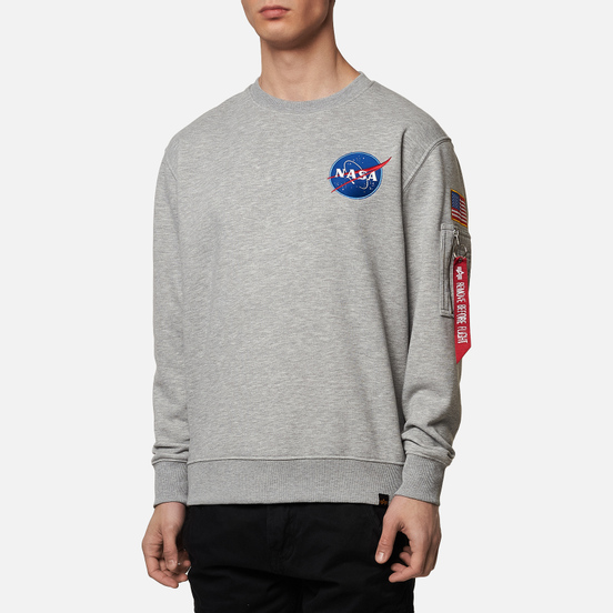 Мужская толстовка Alpha Industries Nasa Space Shuttle Grey Heather