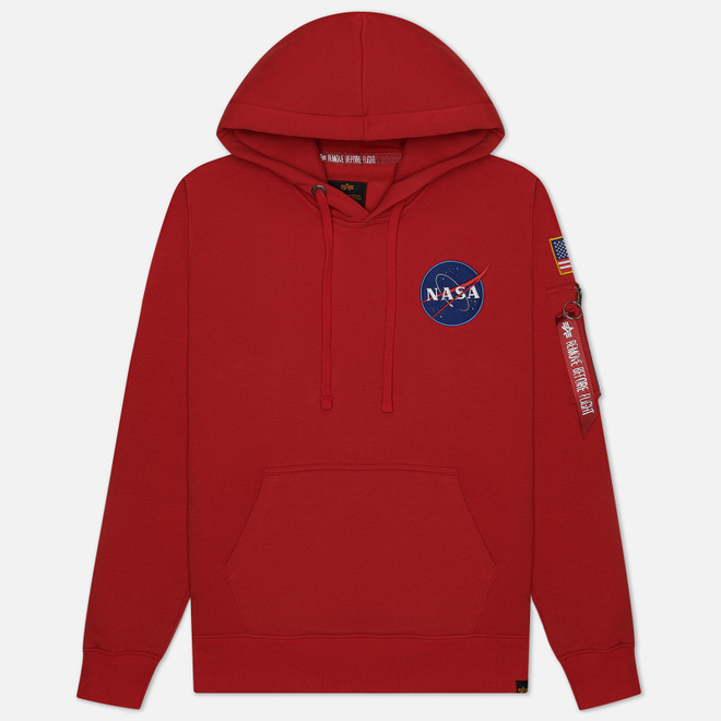 Мужская толстовка Alpha Industries Nasa Space Shuttle Hoody Speed Red