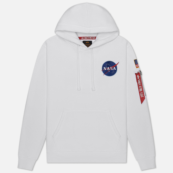 Мужская толстовка Alpha Industries Nasa Space Shuttle Hoody White