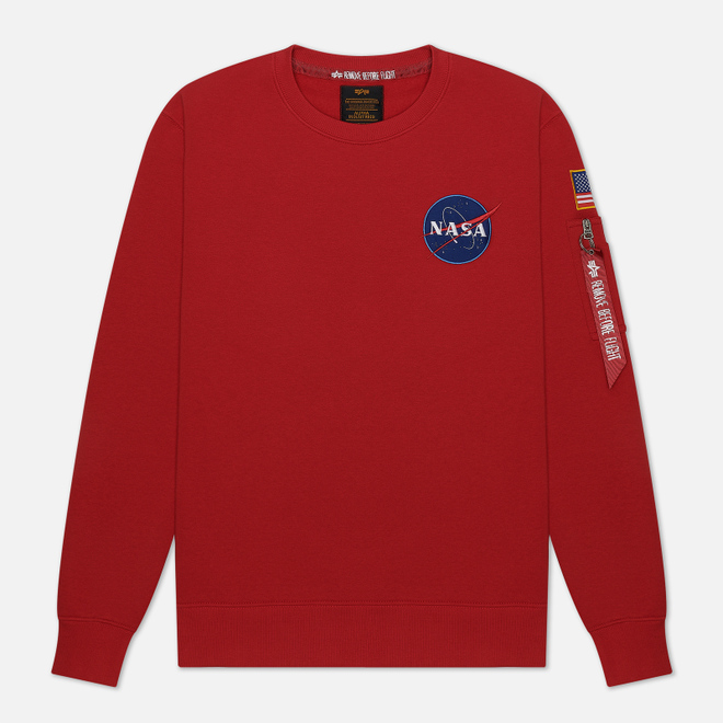 Мужская толстовка Alpha Industries Nasa Space Shuttle Speed Red
