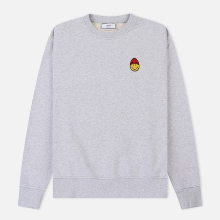 Мужская толстовка AMI Patch Smiley Crew Neck Heather Grey