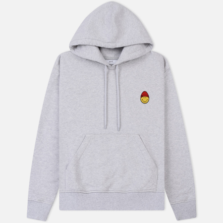 Мужская толстовка AMI Patch Smiley Hoodie Heather Grey