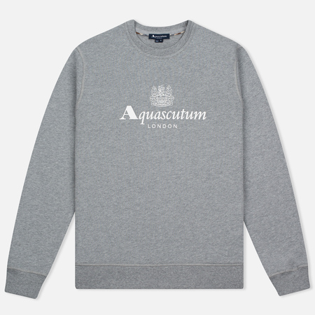 Aquascutum Henry Crew Neck Logo Men's sweatshirt Grey Marl