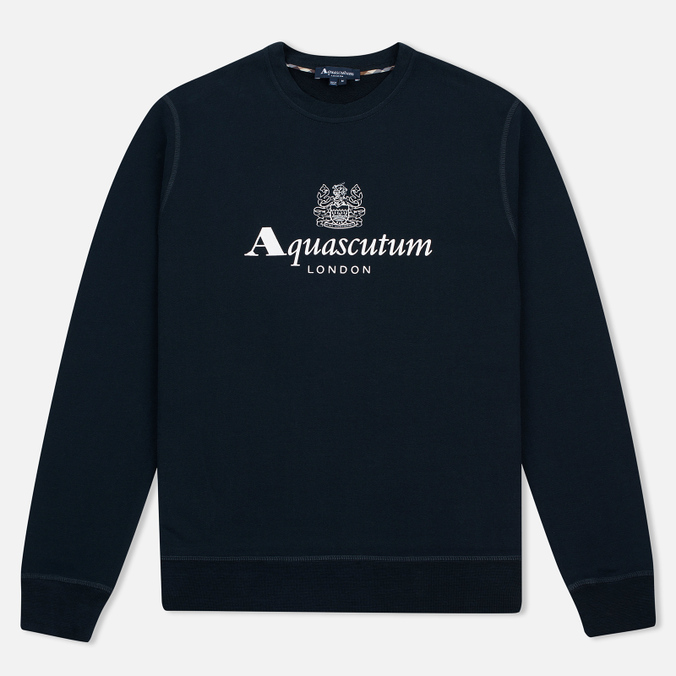 Aquascutum Henry Crew Neck Logo Men's sweatshirt Navy
