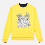 Billionaire Boys Club Vacation Reversible Crewneck Men`s Sweatshirt Navy/Yellow photo- 4