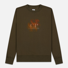 Мужская толстовка C.P. Company Blurred Graphic Logo Olive Night фото- 0