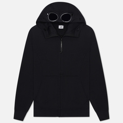 Мужская толстовка C.P. Company Diagonal Fleece Full-Zip Goggle Hooded Black