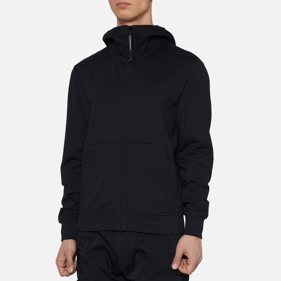 Мужская толстовка C.P. Company Diagonal Fleece Full-Zip Goggle Hooded Black