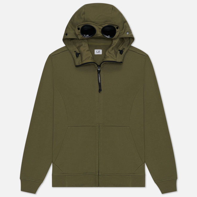 Мужская толстовка C.P. Company Diagonal Fleece Full-Zip Goggle Hooded Burnt Olive