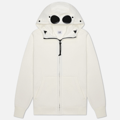 Мужская толстовка C.P. Company Diagonal Fleece Full-Zip Goggle Hooded Gauze White