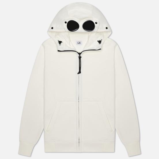Мужская толстовка C.P. Company Diagonal Fleece Full-Zip Goggle Hooded Gauze White