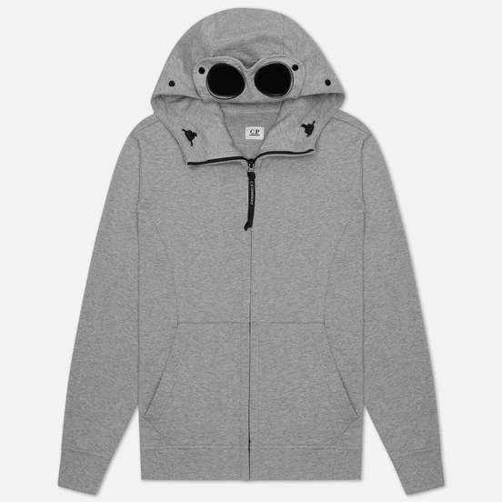 Мужская толстовка C.P. Company Diagonal Fleece Full-Zip Goggle Hooded Grey Melange