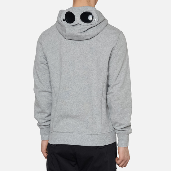 Мужская толстовка C.P. Company Diagonal Fleece Full-Zip Goggle Hooded Grey Melange