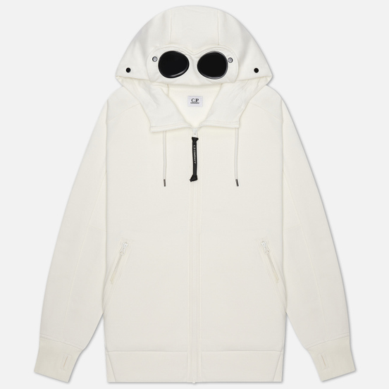 Мужская толстовка C.P. Company Diagonal Fleece Goggle Hooded Gauze White