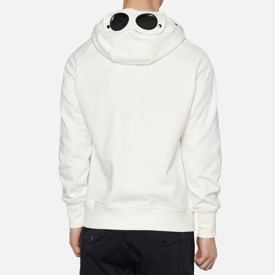 Мужская толстовка C.P. Company Diagonal Fleece Goggle Hooded Gauze White