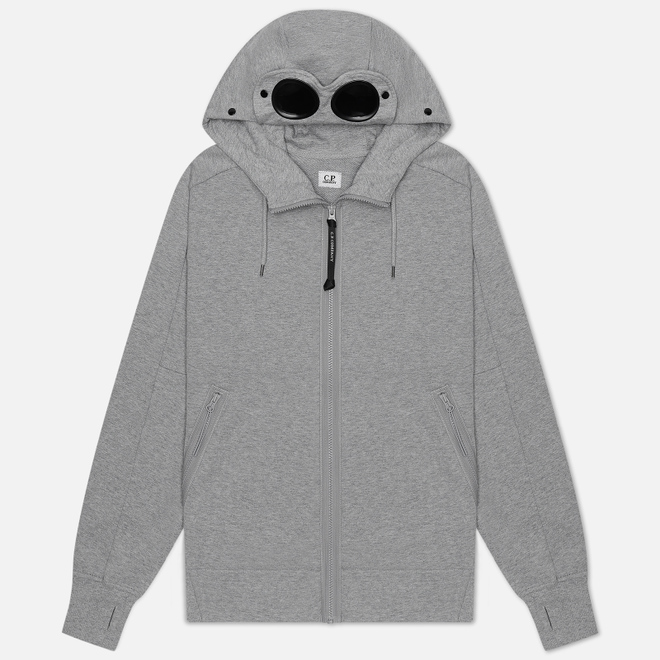 Мужская толстовка C.P. Company Diagonal Fleece Goggle Hooded Grey Melange