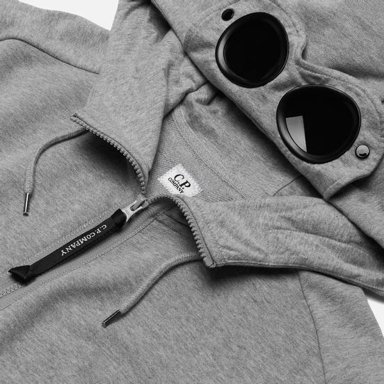 Мужская толстовка C.P. Company Diagonal Fleece Goggle Hooded Grey Melange