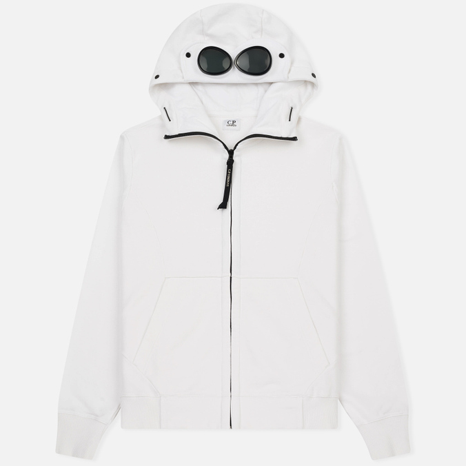 Мужская толстовка C.P. Company Diagonal Fleece Goggle Zip Hoodie Optic White