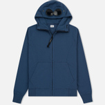 Мужская толстовка C.P. Company Diagonal Fleece Goggle Zip Hoodie True Navy фото- 0