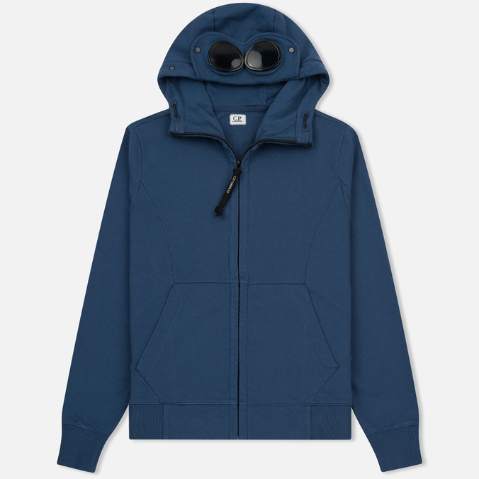 Мужская толстовка C.P. Company Diagonal Fleece Goggle Zip Hoodie True Navy