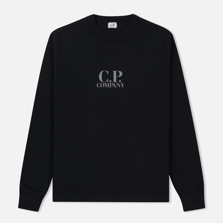 Мужская толстовка C.P. Company Diagonal Fleece Logo Crew Neck Total Eclipse