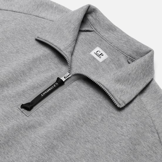 Мужская толстовка C.P. Company Diagonal Fleece Quarter Zip Lens Grey Melange