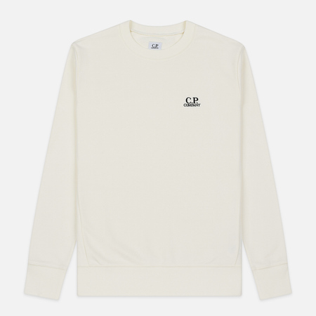 Мужская толстовка C.P. Company Diagonal Raised Fleece Chest Logo Gauze White