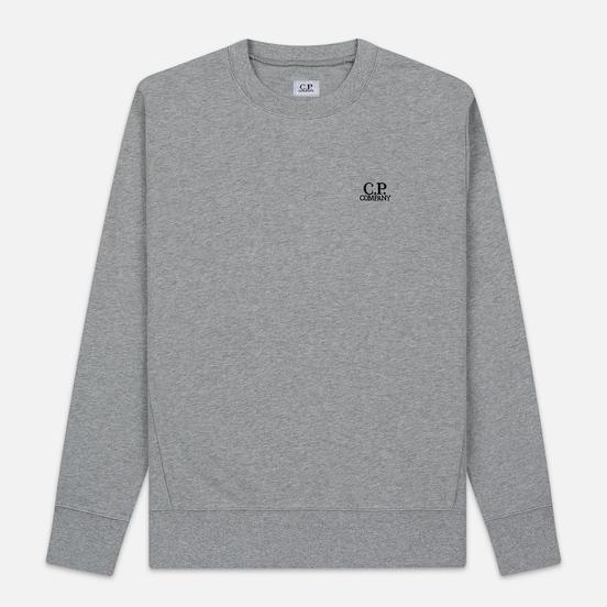 Мужская толстовка C.P. Company Diagonal Raised Fleece Chest Logo Grey Melange