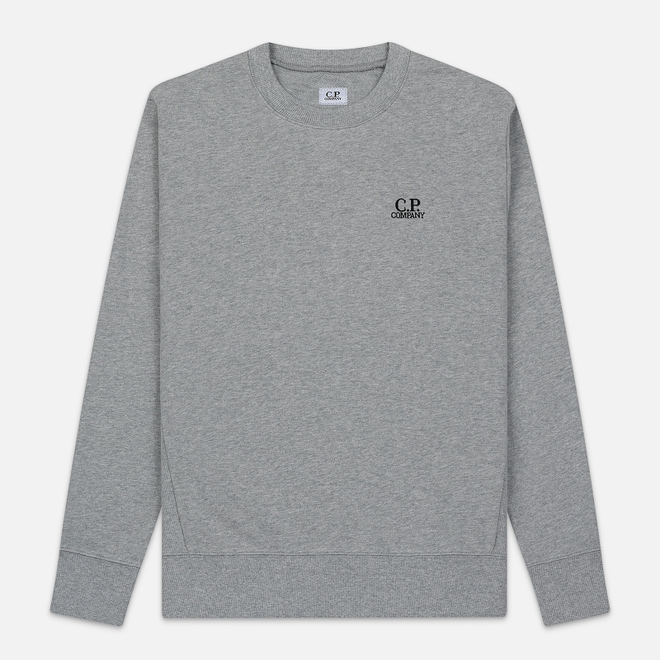 Мужская толстовка C.P. Company Diagonal Raised Fleece Chest Logo Grey Melange