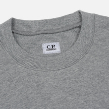 Мужская толстовка C.P. Company Diagonal Raised Fleece Chest Logo Grey Melange фото- 1
