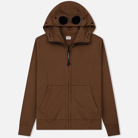 Мужская толстовка C.P. Company Diagonal Raised Fleece Goggle Full Zip Ermine Brown