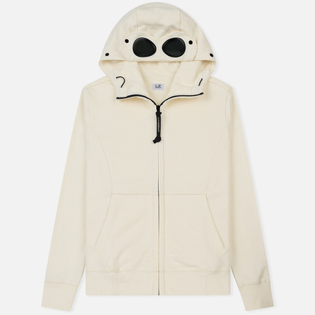 Мужская толстовка C.P. Company Diagonal Raised Fleece Goggle Full Zip Gauze White