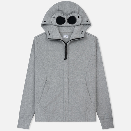 Мужская толстовка C.P. Company Diagonal Raised Fleece Goggle Full Zip Grey Melange